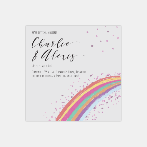front rainbow wedding invitation
