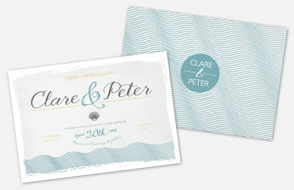 Personalised Wedding Invitations - Coastal