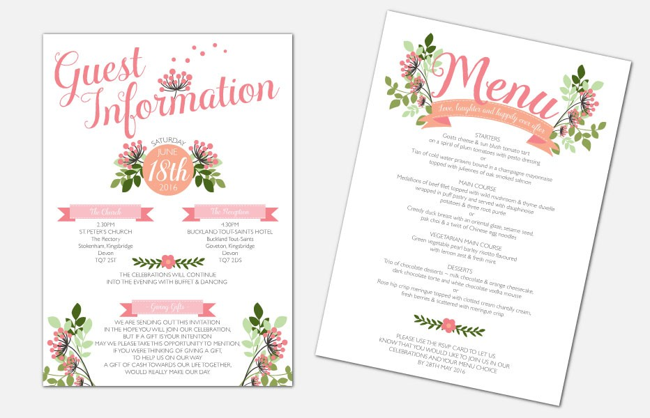 Personalised Information Cards - Love, Laughter