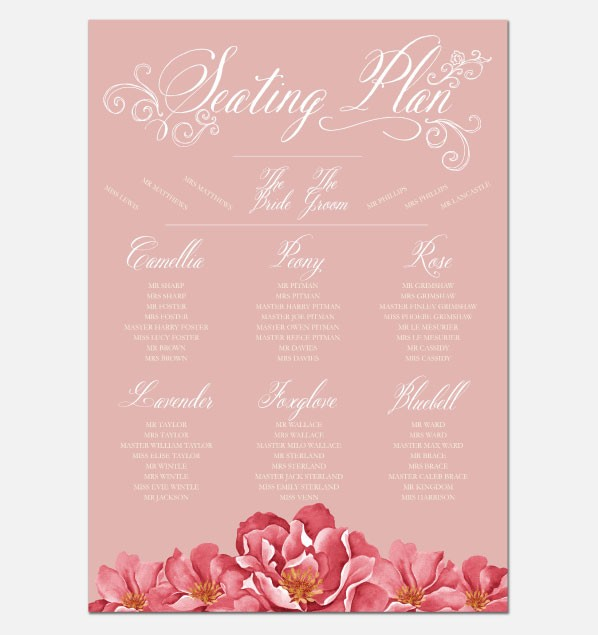 Personalised Wedding Table Plan Sizes: A1, A2, A3 - Bella