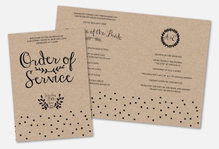Personalised Order Of Service - Rustic Charm