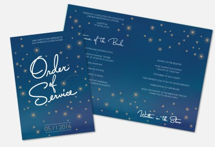 Personalised Order Of Service - Written in the Stars