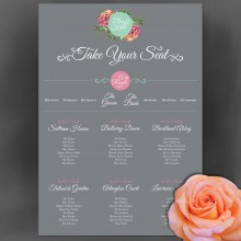 Personalised Wedding Table Plan Sizes: A1, A2, A3 - English Rose