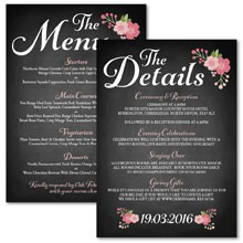 Personalised Information Cards - Chalkboard Blossom