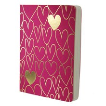 Shimmer Large Gold Hearts - Magenta A6 notebook