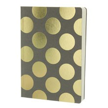 Shimmer Large Gold Polka - Taupe A5 notebook