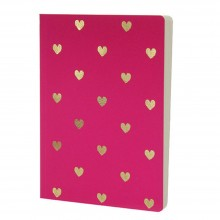 Shimmer Small Gold Hearts - Magenta A5 notebook