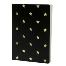 Shimmer Small Gold Stars - Black A5 notebook