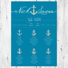 Personalised Wedding Table Plan Sizes: A1, A2, A3 - Ahoy Me Hearties