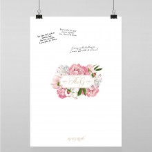 Personalised Guest Sign Poster - Peony