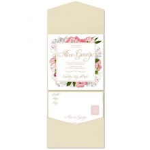 Personalised Pocketfold Wedding Invitations - Peony