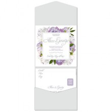 Personalised Pocketfold Wedding Invitations - Peony Purple