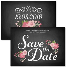 Personalised Save The Date - Chalkboard Blossom