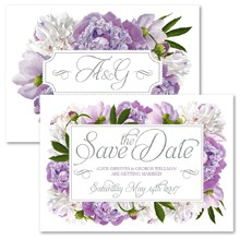 Personalised Save The Date - Peony Purple