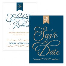 Personalised Save The Date - Pure Love navy/gold