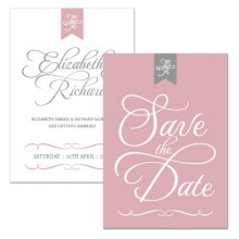 Personalised Save The Date - Pure Love grey/pink