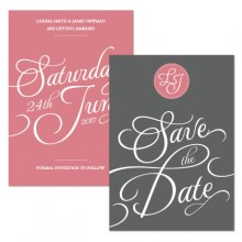 Personalised Save The Date - Tiffany Charm grey/pink