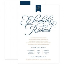 Personalised Wedding Invitations - Pure Love navy/gold