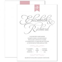 Personalised Wedding Invitations - Pure Love grey/pink