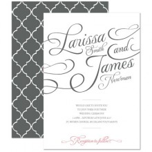 Personalised Wedding Invitations - Tiffany Charm grey/pink