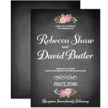 Personalised Wedding Invitations - Chalkboard Blossom