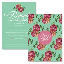 Personalised RSVP Cards - English Rose