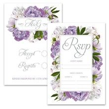 Personalised RSVP Cards - Peony Purple