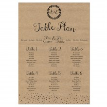 Personalised Wedding Table Plan Sizes: A1, A2, A3 - Rustic Charm