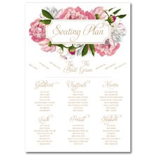 Personalised Wedding Table Plan Sizes: A1, A2 - Peony