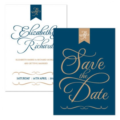 3772a6ebaca72 Personalised Save The Date - Pure Love navy/gold
