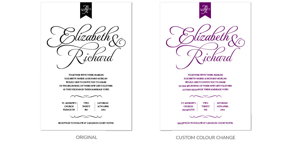 Colour Change Personlaised Wedding Stationery
