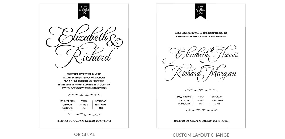 Custom Layout Personalised Wedding Stationery
